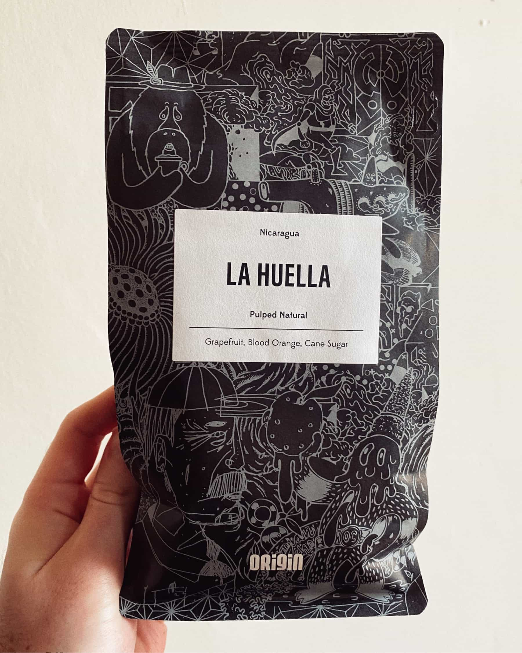 Bag of La Huella coffee beans from Origin Coffee